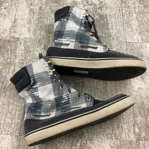 Sperry High Top Plaid Sequin Sneaker Boot Size 10M